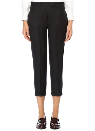 Lacivert Düşük Bel Şeritli Skinny Yün Pantolon