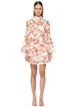 Kadın Chintz Kırmızı Beyaz Çiçekli Volanlı Mini Elbise 12 US