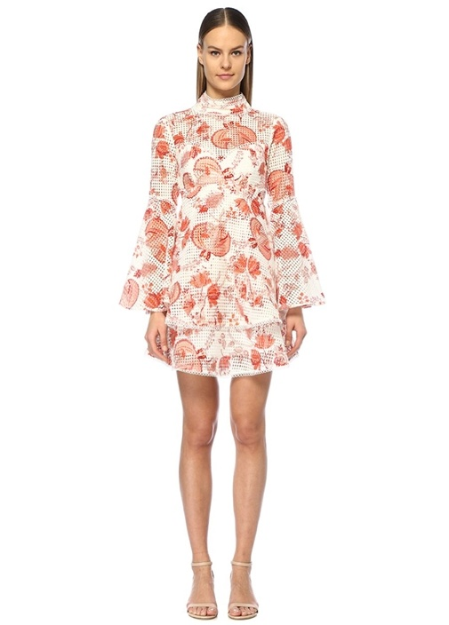 Thurley Chintz Kırmızı Beyaz Çiçekli Volanlı Mini Elbise – 2625.0 TL