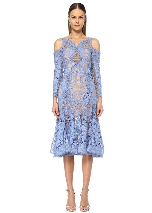 Dahlia Mavi Omzu Açık Volanlı Midi Dantel Elbise