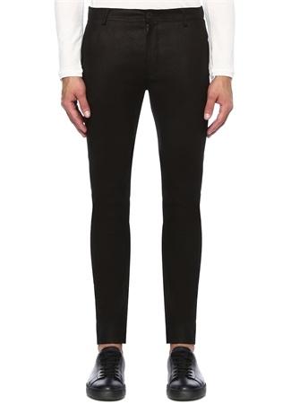 Siyah Normal Bel Dar Paça Deri Pantolon