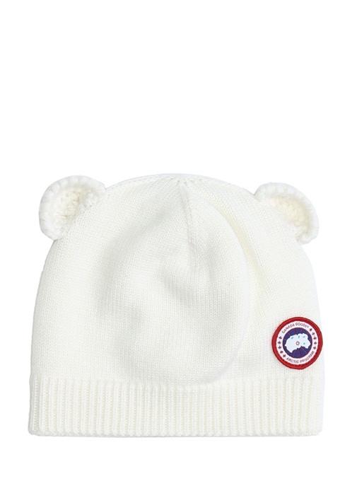 Beyaz Kulak Detaylı Logolu Unisex ÇocukBere