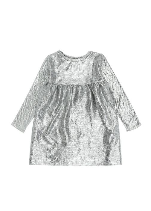 Silver Metalik Baskılı Kız Çocuk Elbise