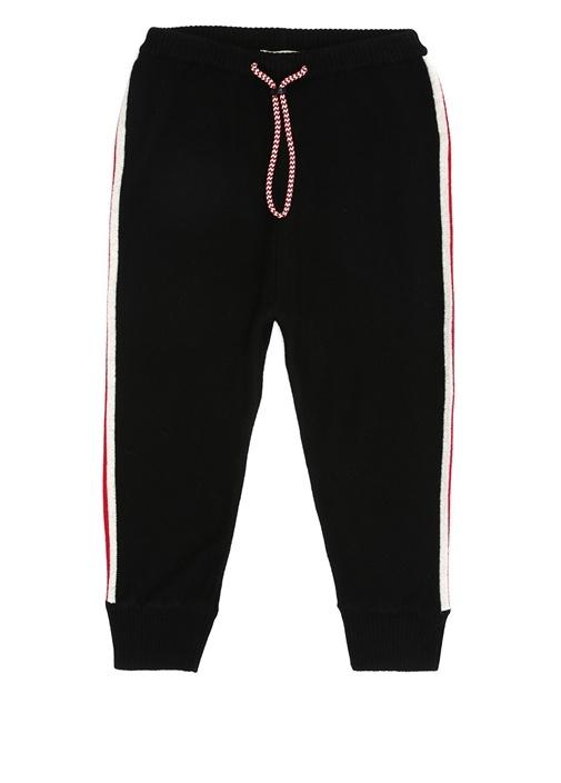 Siyah Yanları Şeritli Çocuk Yün Jogger Pantolon