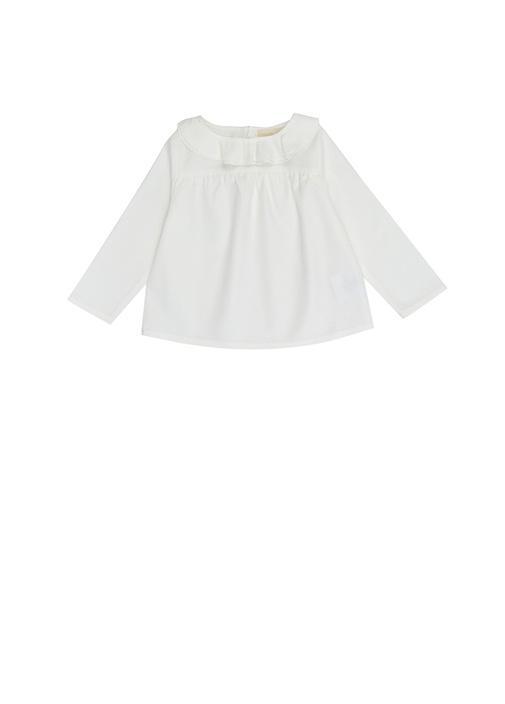 Beyaz Bebe Yaka Kız Bebek Bluz