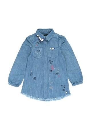 Ikks Kız Çocuk Mavi Nakışlı Baskılı Denim Elbise 4 Yaş Ürün Resmi