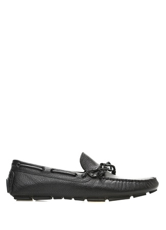 Siyah Bağcık Detaylı Erkek Deri Loafer
