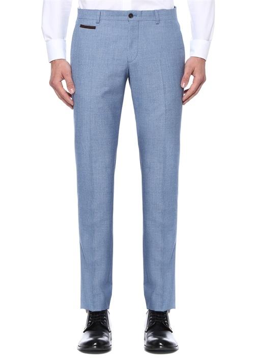 Mavi Normal Bel Süet Garnili Pantolon