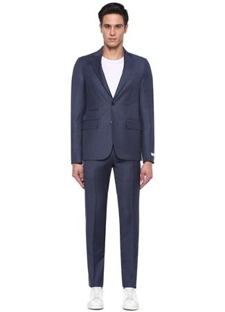 7e6d18017e59a Drop 7 Lacivert Çizgili Soft Yün Takım Elbise