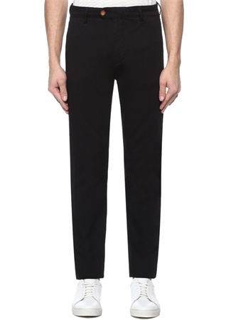 Slim Fit Siyah Panama Dokulu Spor Pantolon