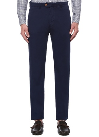 Regular Fit Lacivert Panama Dokulu Chino Pantolon