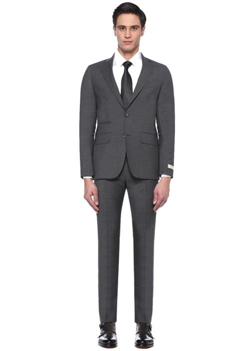 Drop 7 Gri Kelebek Yaka Yün Soft Takım Elbise