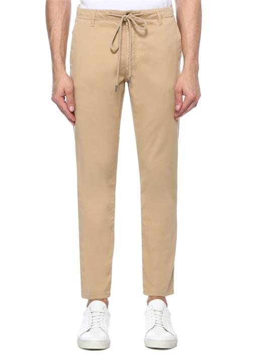 Bej Beli Kordonlu Boru Paça Spor Pantolon