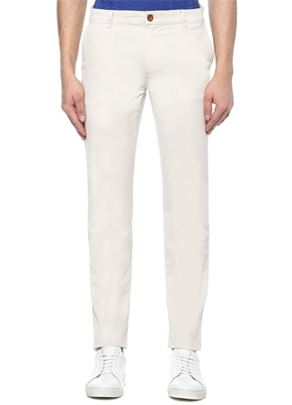 Slim Fit Bej Dokulu Chino Kanvas Pantolon