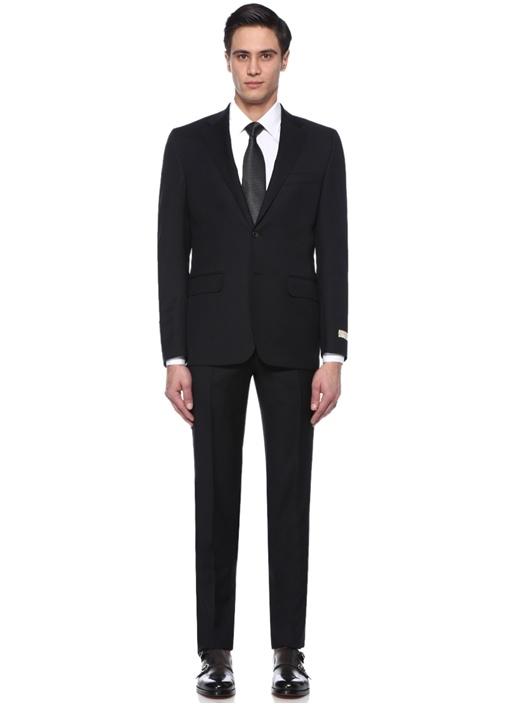 Drop 7 Siyah Çizgili Kelebek Yaka Yün Takım Elbise