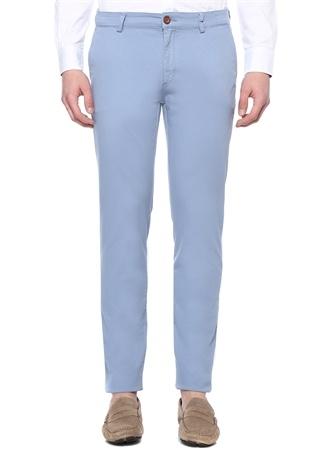 Slim Fit Mavi Normal Bel Dokulu Chino Pantolon
