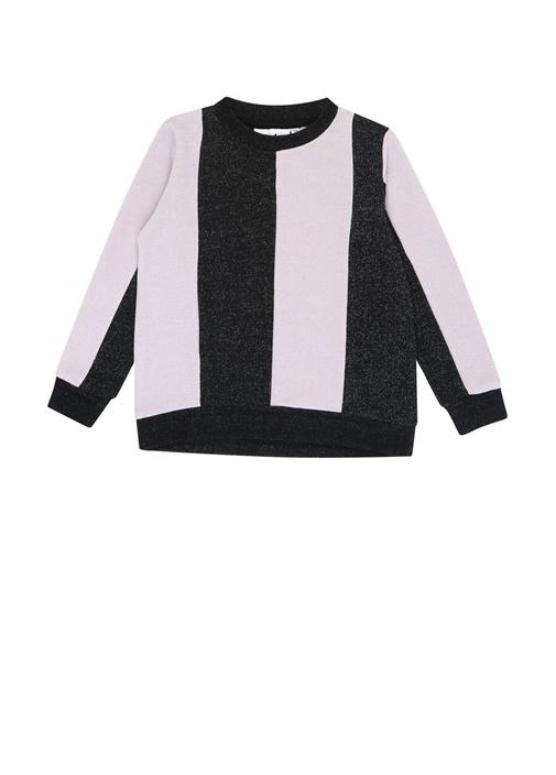Marge Siyah Pembe Simli Kız Çocuk Sweatshirt
