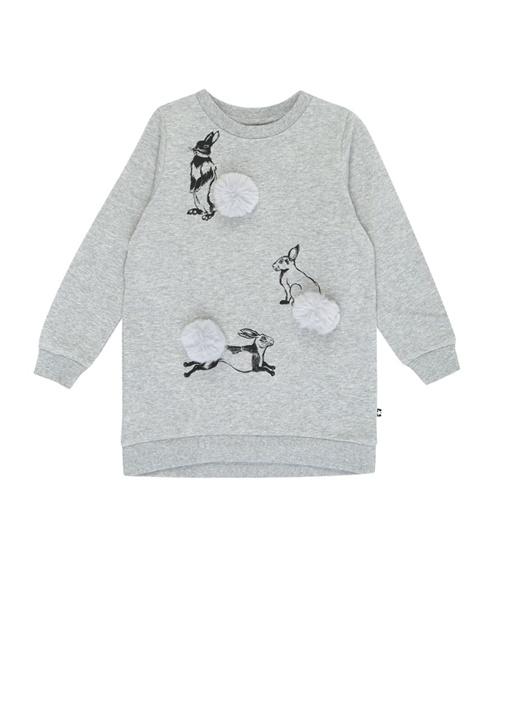 Cassia Gri Melanj Tavşan Baskılı Çocuk Elbise