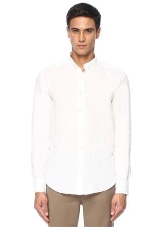 dbca6b1c3f368 Comfort Fit Beyaz Düğmeli Yaka Keten Gömlek