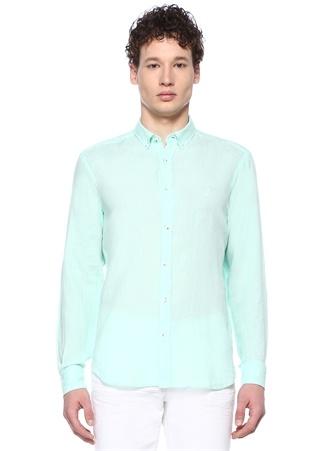 Erkek Comfort Fit Yeşil Düğmeli Yaka Keten Gömlek Mavi XXL