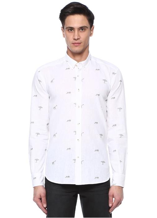 Comfort Fit Düğmeli Yaka Safari Baskılı Gömlek
