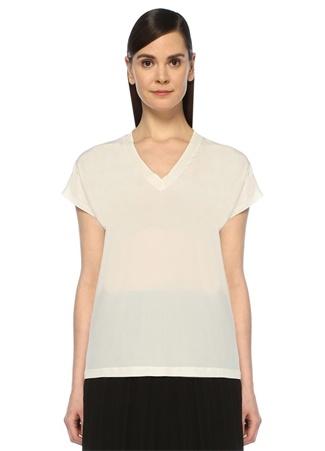 Beyaz V Yaka Şifon T-shirt
