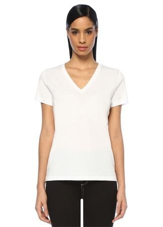 Beymen Club Kadın Beyaz V Yaka Basic T-shirt L