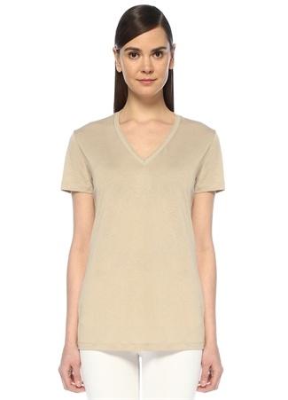 Bej V Yaka Simli Şerit Detaylı T-shirt