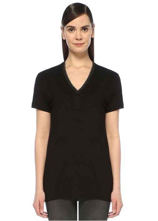 Siyah V Yaka Simli Ribanalı T-shirt