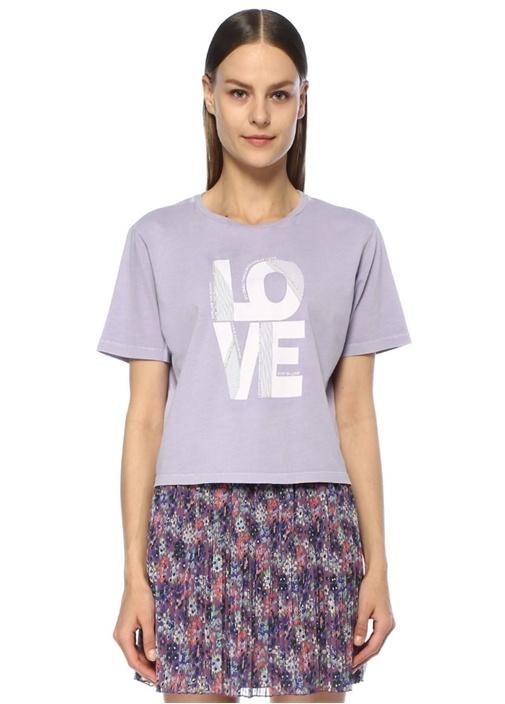 Lila Taşlı Yazı Baskılı Düşük Kol T-shirt