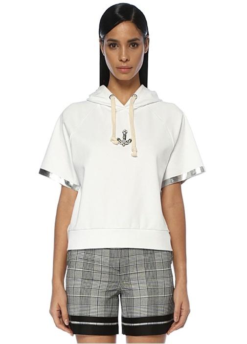 Beymen Club Beyaz Kapüşonlu Çapa Detaylı Kısa Kol Sweatshirt – 399.0 TL