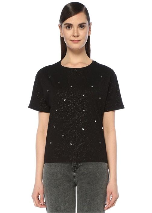 Siyah Simli Yıldız Trok Detaylı T-shirt