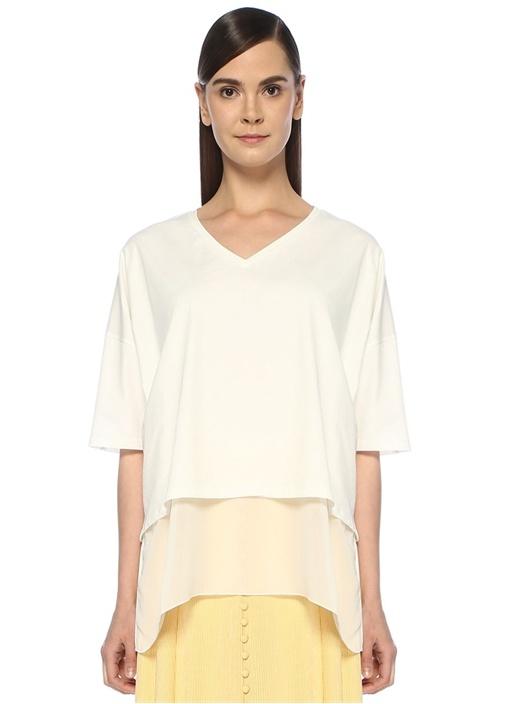 Beyaz V Yaka Mendil Formlu Şifon Garnili T-shirt