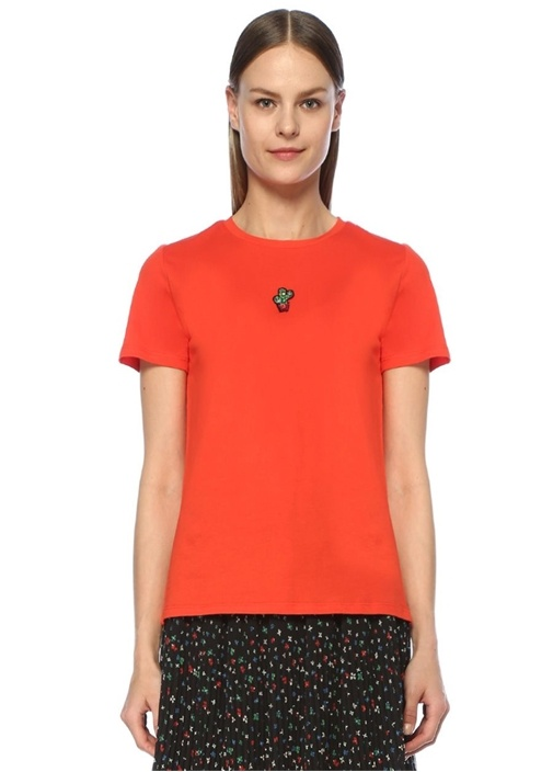 Kırmızı Bisiklet Yaka Taş Kaktüs Detaylı T-shirt