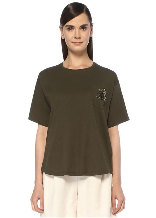 Haki Yaprak Nakışlı T-shirt