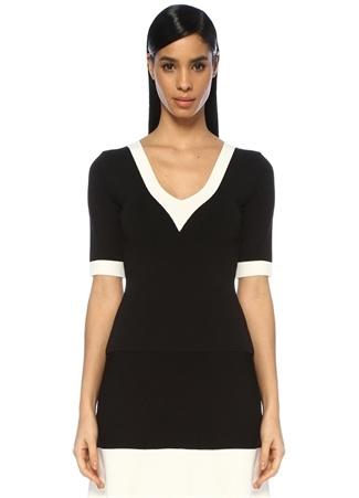 Siyah Beyaz V Yaka Şeritli Yarım Kol Triko