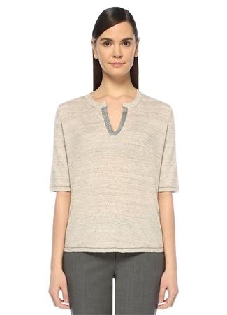 Kadın Bej Yarım Kol Keten Bluz XL