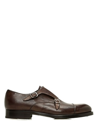 Kahverengi Klasik Çift Kemerli Erkek Deri Ayakkabı