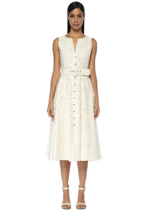 Beymen Club Beyaz Taş Düğmeli Kemerli Kolsuz Midi Elbise – 999.0 TL