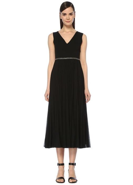 Siyah V Yaka Pilili Midi Krep Abiye Elbise