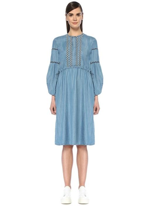Mavi Nakış Detaylı Büzgülü Midi Bohem Elbise