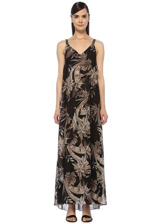 e03508145863c Siyah Tropikal Desenli Maksi Şifon Abiye Elbise