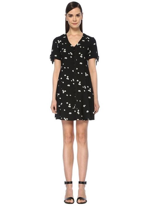 Siyah V Yaka Papatya Desenli Mini Elbise