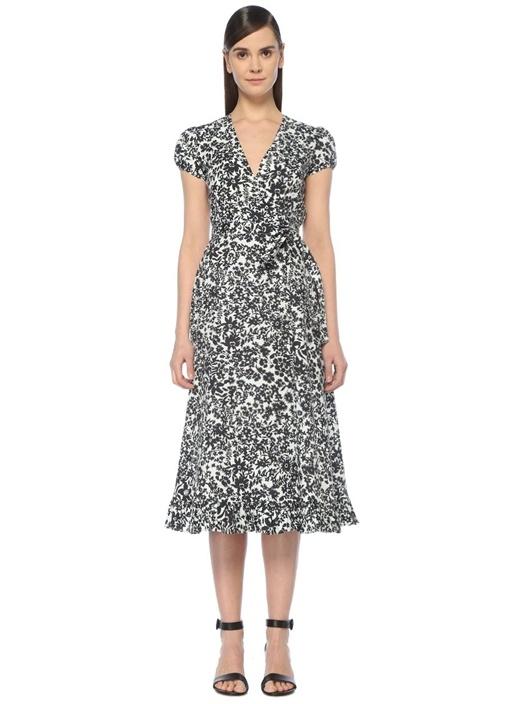 Siyah Beyaz Desenli Midi Anvelop Poplin Elbise
