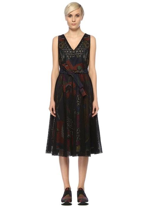Siyah V Yaka Desenli Astarlı Midi File Elbise
