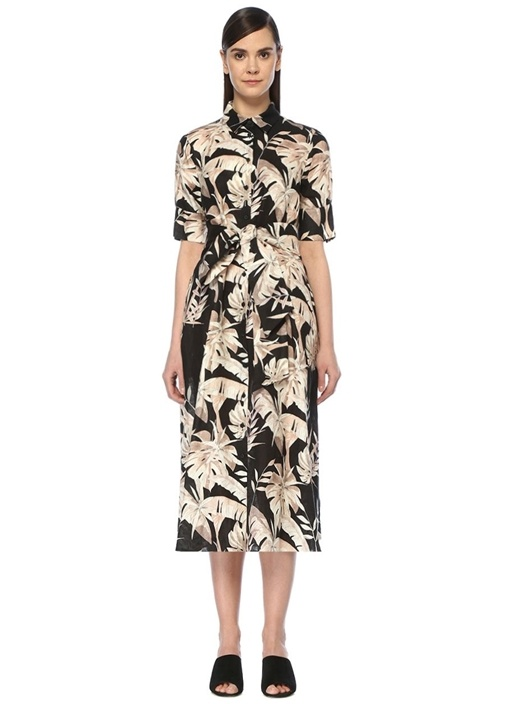 Siyah Tropikal Çiçekli Midi Keten Gömlek Elbise