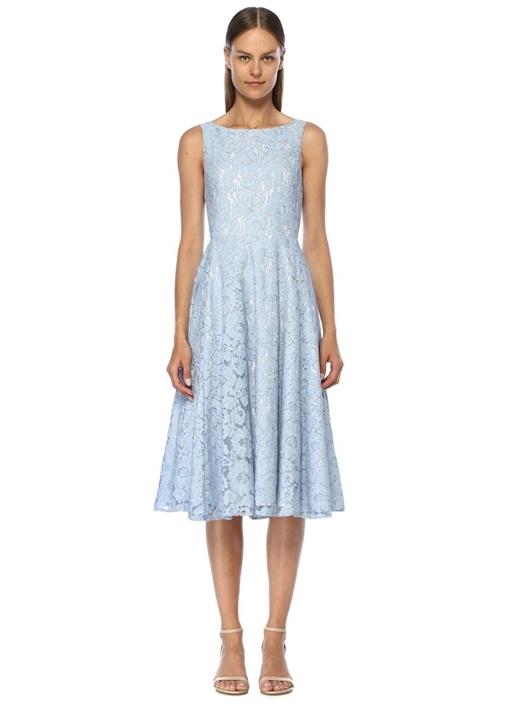 3b488070a2a1f Beymen Club Mavi Kayık Yaka Askılı Midi Dantel Elbise – 1049.0 TL
