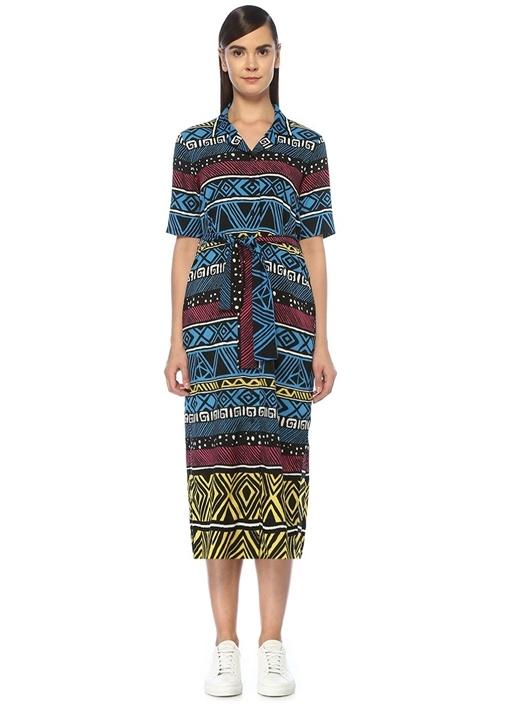 Etnik Desenli Beli Kuşaklı Midi Gömlek Elbise