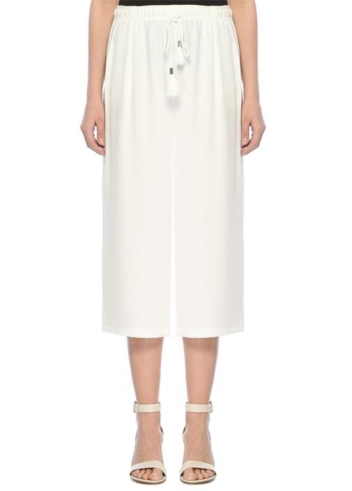 Beyaz Yüksek Bel Bağcıklı Krep Culotte Pantolon