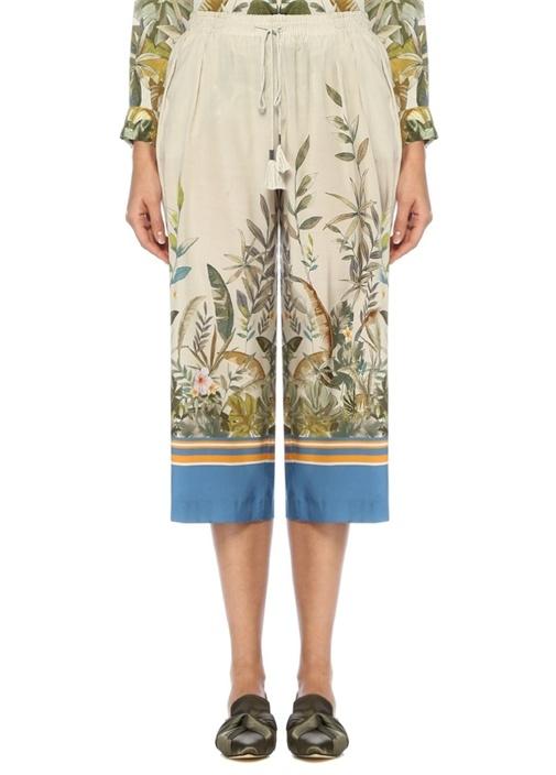 Tropikal Desenli Culotte İpek Pantolon